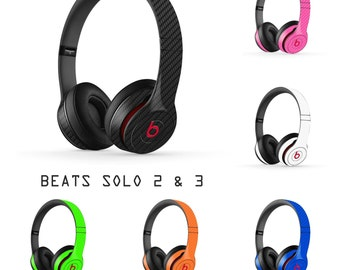 Beats by Dre : SOLO 2 & 3 Headphones - Carbon Fiber Look 3d Skin Wrap Decal Cover Sticker Vinyl Accessory 2nd 3rd Gen - 10 Colors Available