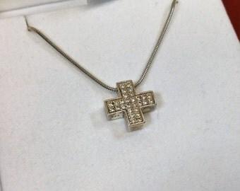 Charm 925 Silver Cross Crystal stones SK1008