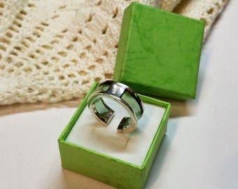 17.2 mm designer ring 925 Silver plastic green noble vintage SR587