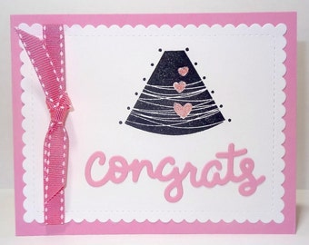 Baby Girl Shower Card, Expecting Card, Pregnancy Card, Handmade Baby Congratulations Greeting Card, Ultrasound, Sonogram, Expecting Parents