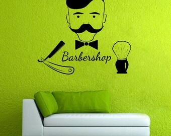 Barber Shop Logo Decal Hair Salon Mural Hairdressing Salon Decor Barber's Pattern (7brsh)