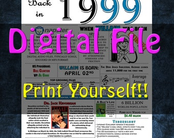 1999 Personalized Birthday Poster, 1999 History - DIGITAL FILE!!