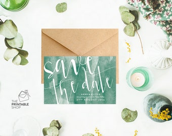 Watercolor save the date cards, Printable save the date, Emerald green save the date, Rustic save the dates, Watercolour wedding stationery