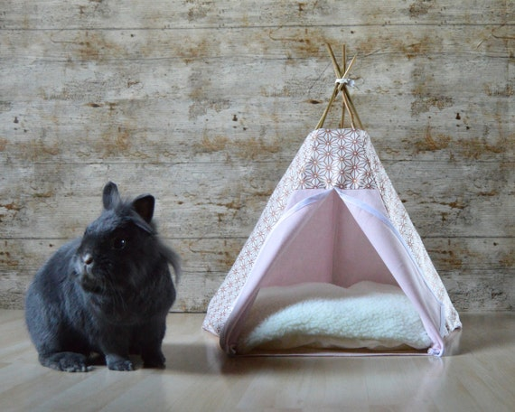 Rabbit Teepee Guinea Pig Bed With Pillow Japanese Pattern
