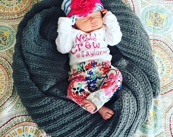 New to the Crew--Coming Home Outfit, Take Home Outfit, Hospital Outfit, Baby Girl Clothes, Baby Boy Clothes, Cute Newborn Onesies, Newborn