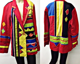 90's wild funky blazer,,red EMBROIERED patchwork,Indigo moon