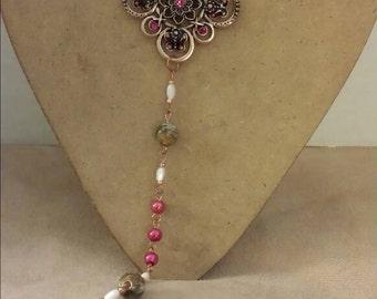 Fushia pearl rosary