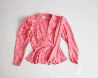 peplum blazer | silk jacket | coral blazer