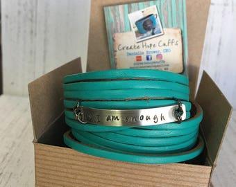 Teal Leather Wrap Bracelet, Shredded, 'I am enough' soft leather, double wrap, adjustable