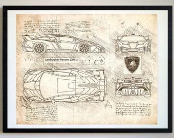 Lamborghini Veneno (2013) Lambo Artwork, Blueprint Specs, Blueprint Patent Prints Posters, Art, Car Art, Cars (#221)