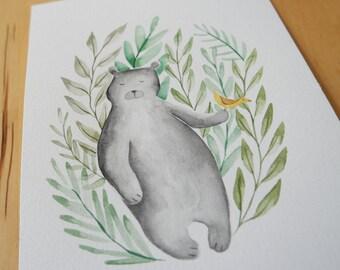Bear and Bird Illustration Print from Original watercolor Wall Art