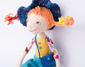 Pippi doll Pippi Longstocking Fabric doll Аrt doll Handmade Rag doll Doll rag Doll birthday Gift for girls Gift for girl Decor doll Doll