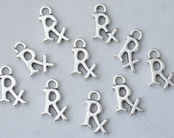 10 Pcs Rx Charms Medical Charms Pendants Antique Silver Tone 2 Sided 15x10mm - YD1436