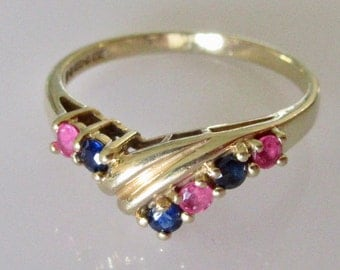 9ct Gold Ruby and Sapphire Wishbone Ring Size L or 5 1/2