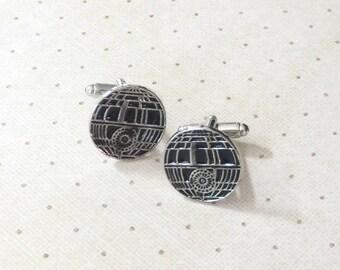 Star Wars Death Star Cufflinks Cuff Links in Silver