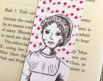 Jane Austen Bookmark - illustrated - bookmark -author