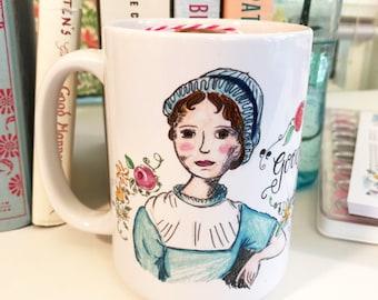 Jane Austen Gifts - coffee mug - Jane Austen - 15oz