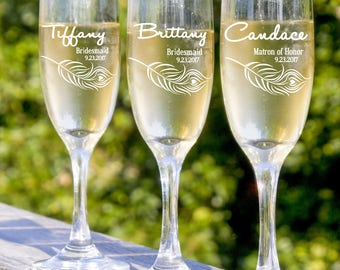 Wedding Bridal Toast, Champagne Toast, 9 Bridesmaids Champagne Flute, Will You Be My Bridesmaid, Personalized Bridesmaid Glass, Etched Glass