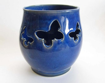 Blue Lantern, Blue Tealight Lantern, Blue Candle Holder, Ceramic Lantern, Ceramic Luminary, Handmade Lantern, Tealight Holder, Wheelthrown