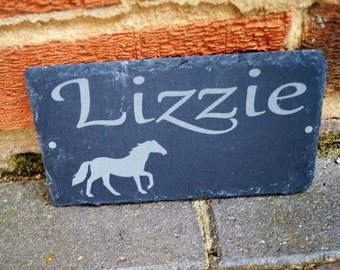 Childs stable sign, horse name sign, stable sign, personalised slate sign, house sign, stable sign, horse stable sign