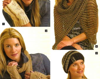 King Cole Knitting Pattern 3157~Hats, Gloves, Scarves & Wrap~DK~One size