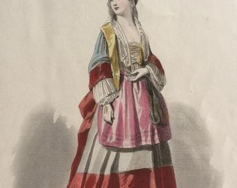 Hand-coloured original antique print by Francois Claudius Compte-Calix - Historical Costume - Epoque de Louis XIV - French Fashion