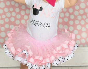 minnie mouse birthday outfit, first birthday tutu outfit, birthday outfit girl, pink minnie mouse, birthday tutu outfit, ribbon edge tutu