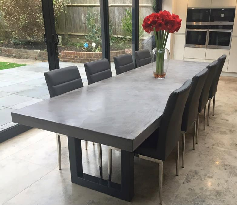 Polished Concrete Dining Table Bespoke Handmade By