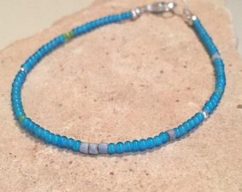 Blue bracelet, seed bead bracelet, stackable bracelet, layering bracelet, sterling silver bracelet, Hill Tribe silver bracelet, gift for her
