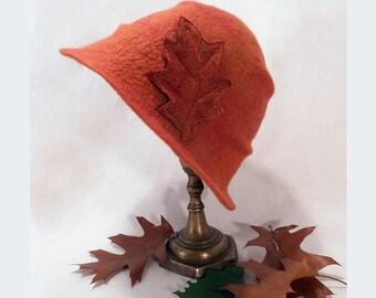 Felt Hat, Cloche Wool hat, Merino wool, Women Hat, Wool felted hat, Unique Felt Hat, Orange hat, Winter hat, Women winter hat, Warm hat