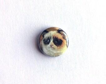 Grumpy Cat meme, 1 inch pinback button // Funny, Pop Culture, Meme, Button