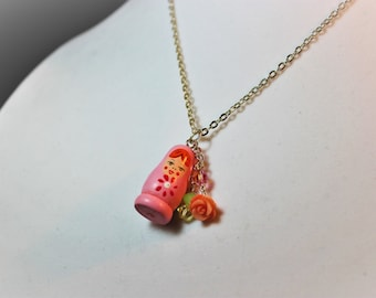 Little Wooden Dolly Pendant Necklace