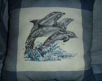 Dolphin Embroidery Pillow