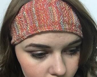 Headband handwoven batik trim cotton rayon red pastel multicolor