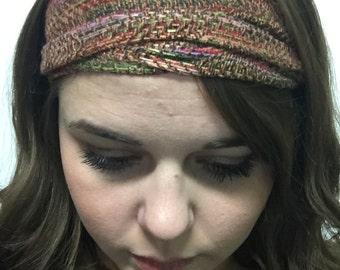 Headband handwoven print trim cotton rayon Wine gold brown. multicolor