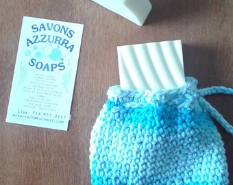 Castile olive oil soap with handmade scrubbie pouch made with 100% cotton