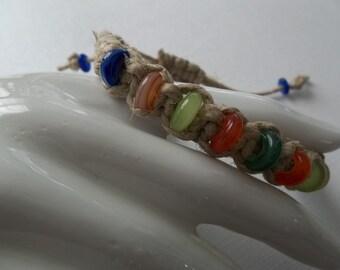 COLORFUL Adjustable Natural HEMP BRACELET w/ multi color India glass tribal beads