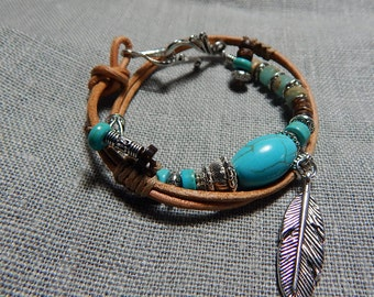 Camel leather strap and blue beads