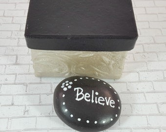 Prayer Rock - Hand Painted Rocks - Worry Stone - Painted Rocks - Prayer Box - Rock Art - Paperweight - Christmas Gifts under 10