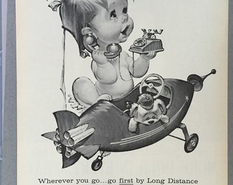 """1961 Bell Telephone System Print Ad - """"...go first by Long Distance"""""""