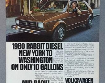 1980 Volkswagen Rabbit Diesel Print Ad - VW