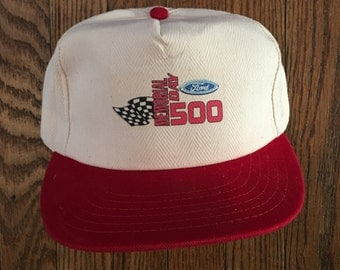 Vintage 90s Ford Memorial Day 500 Strapback Hat Baseball Cap