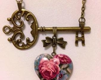 Floral Locket Key Necklace,Heart Locket Necklace,Floral Pendant,Mother's Day Necklace,Necklaces for Women,flytomeshop,Karen Minkel,Fly To Me