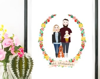 Custom Family Portrait Print - Digital Drawing - Illustration, Birthday Gift, Housewarming, Anniversary, Wall Art, Personalised, New Baby