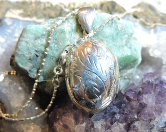 Oval Locket Sterling Silver Necklace