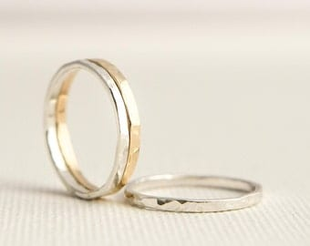 Stacking Rings - Gold Silver Stacking Rings - Thick Stacking Rings - Mixed Metal Rings - Gold Stack Rings