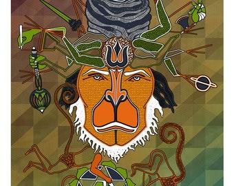 Hanuman Canvas Poster, Monkey God Wall art- Indian Art- Hanuman Art- Visionary art- Indian God- Hanuman Poster- Monkey poster- Animal Print
