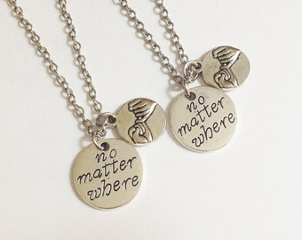 2 Pinky promise necklaces - No matter where necklace - friendship necklace - Bff necklace - Christmas gift