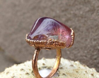 Reserved for M. Ametrine ring | Tumbled ametrine ring | Ametrine electroformed ring | Ametrine copper ring