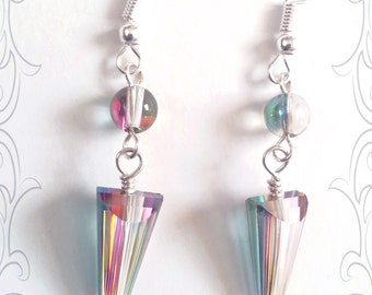 SALE * Crystal Earrings - Small Spike Earrings - Silver Earrings - Crystal Quartz Earrings - Dangle Earrings - Love -Aurora Borealis Crystal